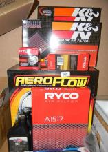An Assortment of Vehicle Filters marked Ryco Aeroflow etc