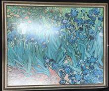 A Large Framed Van Gogh Poster - Irises, The Metropolitan Museum of Art, trimmed, framed