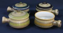 Four Stonecrete Earthenware Lidded Dishes made in Korea,