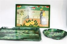 Two Large Rectangular Paper Mache Trays Handmade in Thailand with an Additional Tray