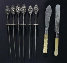 Six Indonesian Meat Skewers with a pair of Ivory Handled Knives