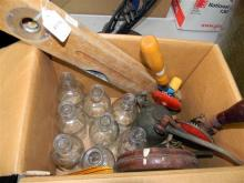 Eight Pharmacy Bottles, two hand drills plus two oil cans etc.