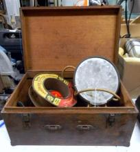 A Timber Travel Case and Contents including Electric Mirror etc