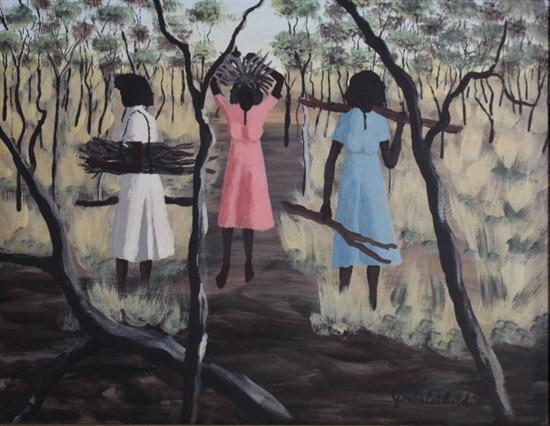 Dick Rougshey Goobalathaldin (1924-1985) Carrying Wood, Mornington Island Oil on board