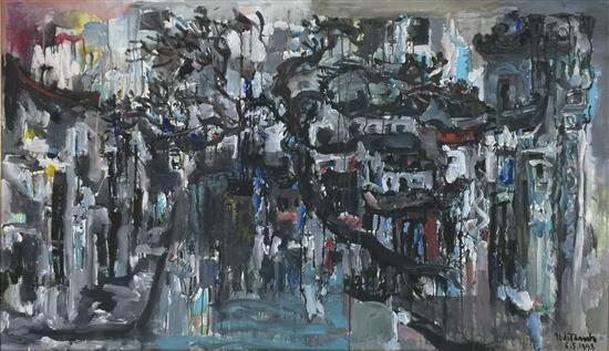 Van Duong Thanh (b.1951) Vietnam Old Street of Hanoi 1998 Oil on canvas