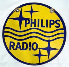 A hanging enamel double-sided Philips radio sign