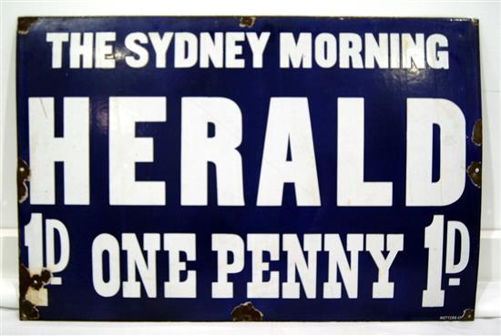 The Sydney Morning Herald, One Penny 1D enamel sign