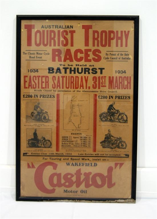 A 1934 Bathurst Australian Tourist Trophy Races orginal framed poster