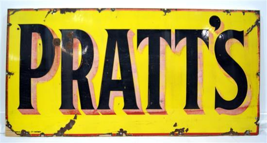 A Pratts enamel motor spirit sign