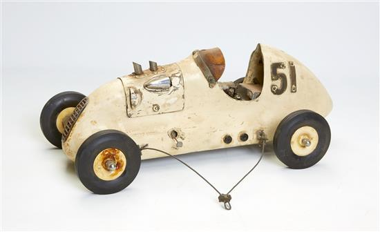 A miniature gas powered tethered car, number 51