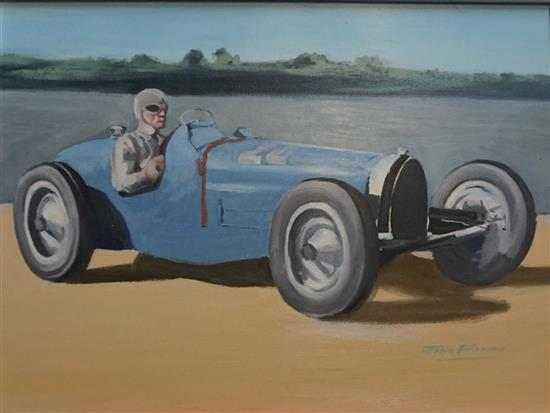A Pre-war Car type 59 Gp Bugatti painting by Jim Flynn