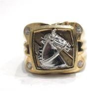 A 10ct Yellow & White Gold Signet Horse Ring,