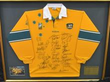 A 1999 World Cup Rugby Jersey Signed by the Winning Australian Side,