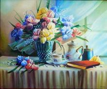 David Lee Still Life, Iris Acrylic on canvas