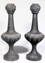 A Pair of Composite Material Grey Architectural Finials