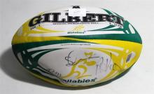 A Signed Wallabies Official Memorabilia Football, Signatures Including Jo Roth and Phil Kearnes