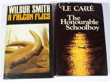 Two First Edition Volumes: Smith, Wilbur ''A Falcon Flies,'' [1980] + Le Carre, John ''The Honourable Schoolboy,'' [1977]
