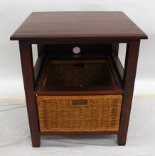 A Small Side Table With Cane Drawer