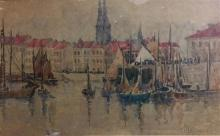 Laurence Holtham Howie (1876-1963) Boulogne Harbour Watercolour