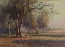 William Lister Lister (1859-1943) The Afternoon Stroll beneath the Gums Watercolour