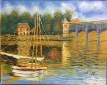 French School (AR) (20th Century) On the River Acrylic on canvas