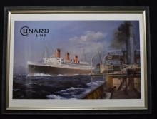 Colin Verity, Cunard Line, The Queen Mary, A Framed Print,
