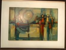 Rudi Caesar (20th Century) Croatia/England/PNG The Village Court PNG 1971 Oil on board
