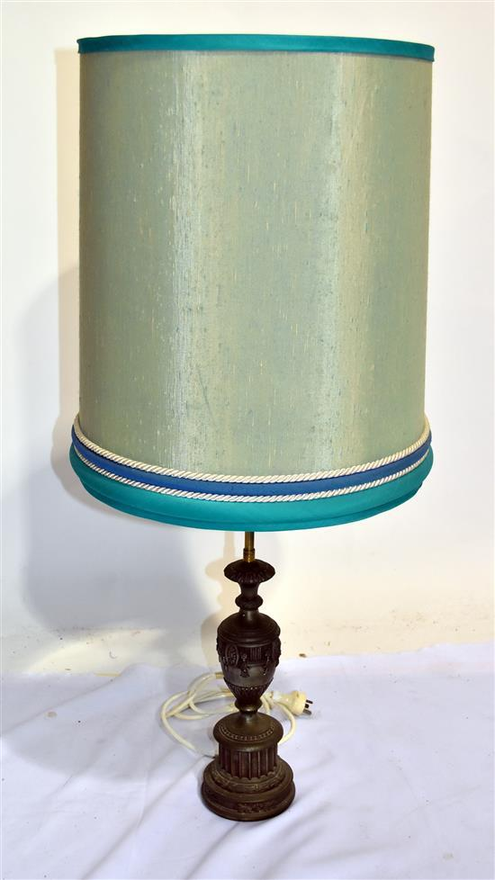 Side Wall Lamp Shades : An Antique Style Metal Based Side Lamp with Green Shade