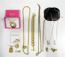 A collection of gold plated costume jewellery incl. bracelets, necklaces & rings
