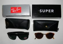Two pairs of fashion sunglasses marked Ray Ban & Super by Retrosuperfuture