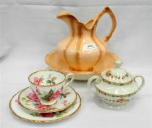 A Royal Stafford trio, Royal Doulton sugar & minature wash basin & jug set