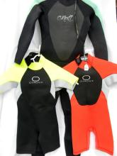 Two childrens Spring wetsuits marked Ozmosis sze 8 plus Steamer wetsuit marked O'neil size 6 [used]