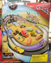 A toy car track set marked Disney Pixar