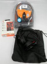Three assorted sets of headphones marked JBL & Sennheiser etc.