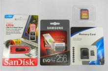 Two SD cards plus flash drive 256 GB, 64 GB & 32 GB