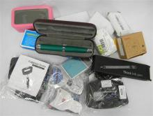 A quantity of assorted sundries incl. digital scales, clocks, suit case etc.
