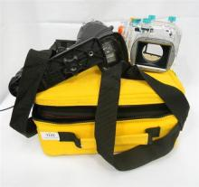 A Sealife digital pro flash unit link arm plus two travel bags & Canon WP-DC34 waterproof case