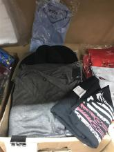 A box of assorted menswear incl. shirts, hats etc.