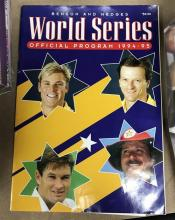 Cricket memorabilia; World Series programme '94 -'95 + Clashes for the Ashes brochure with official medal collection [2 missing]