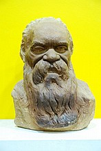 William Ricketts (1889 - 1993) Australia Portrait Bust of an Aboriginal Man incised signature William Ricketts to the reverse
