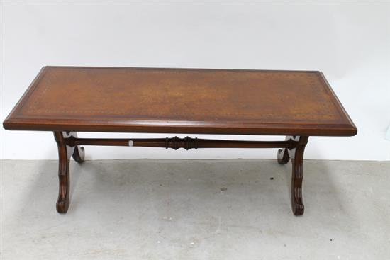 A Leatherette Gothic Style Coffee Table