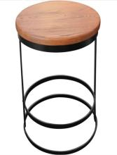 A Replica Tribeca Round Black Stools in Natural & Black