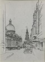 Clem Seale (1915-) Down George Street, the QVB to the Town Hall, Sydney Pen & ink