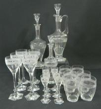 Three Glass Decanters with Matching Glasses,