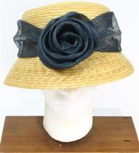 A Crochetta Made in Italy Straw Hat with Flower Detail