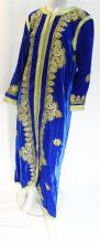A Contemporary Moroccan Blue Velvet Kaftan with Golden Embroidery,
