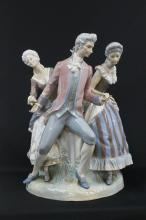 A Monumental Lladro Figure Group with Central Candle Holder,