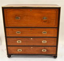 A c.1880 Anglo-Indian Campaign Camphor Wood Secretaire,
