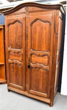 A Large Oak Armoire With Carved Crown & Fitted Interior