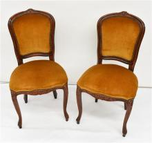 A Pair Of Mahogany Side Chairs in Gold Velvet Upholstery